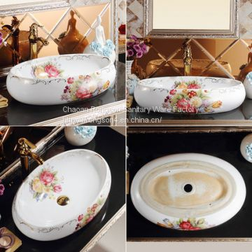 Modern design new counter top flower design basins for bathrooms​