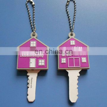 3D custom logo house shape rubber pvc key cover with LED light