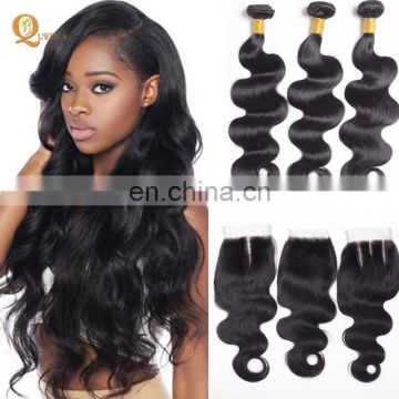 Indian Hair Raw Unprocessed Human Hair Weave Vendors Virgin Remy Body Wave With Closure