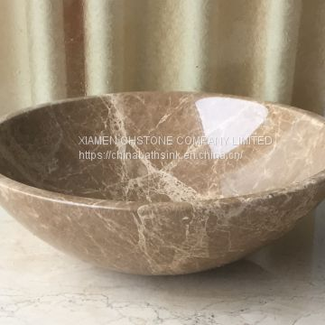 Light Emperador Marble Bathroom Vessel Round Sink Natural Stone Wash Basin