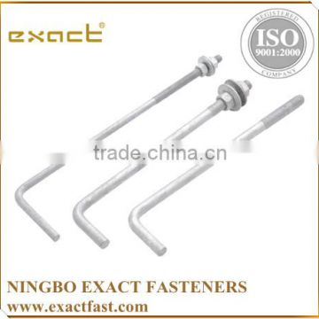 FACTORY SUPPLY HIGH QUALITY ZINC/HDG ASSEMBLED WITH WASHER AND NUT L BOLT/ ANCHOR BOLT M24