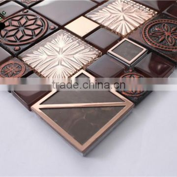 MB SMP21 Premium Living Room Wall Decor Glass Mix Stainless Steel Mosaic TV Backsplash Tile Brown Mosaic Tile