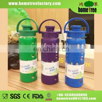 Clear Safe Thermal Water Bottle with Glass Inner Silicone Sleeve Plastic Tumbler
