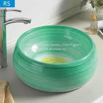 China Supplier ceramic wholesale green round shape tabletop bathroom art wash basin sink