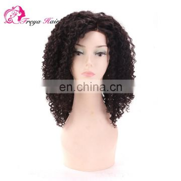 Permanent Curling Hot Selling 8a Grade Natural Black Color Kinky Curl Malaysian Virgin Human Hair Lace Front Wig