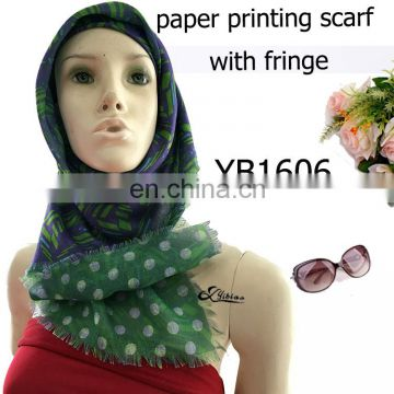 YB1606 fashion double printing digital paper printed polyester scarf with fringe factory hot sell ladies scarf