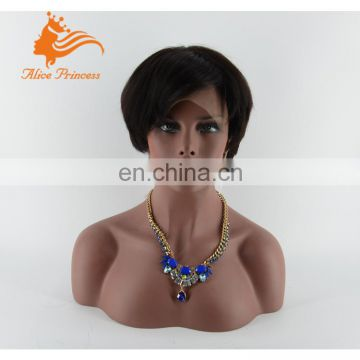 Natural color Brazilian Hair short Bob Full Lace Wig For Black Women