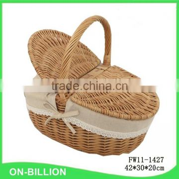 Hot sale new insulated willow picnic basket empty