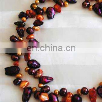 ladies colorful beaded pearl necklace--Coral shaped