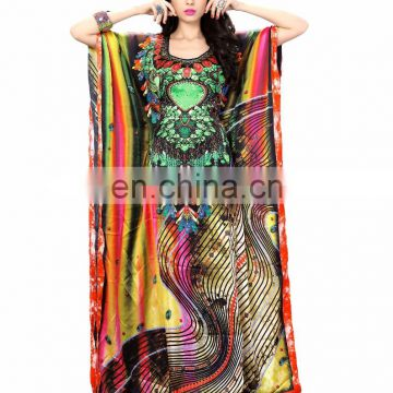 Women's Multi Colour Silk Satin Daily Wear Kaftan / Digital Printed High Quality Kaftan / Party Wear Kaftan(kaftans 2017)