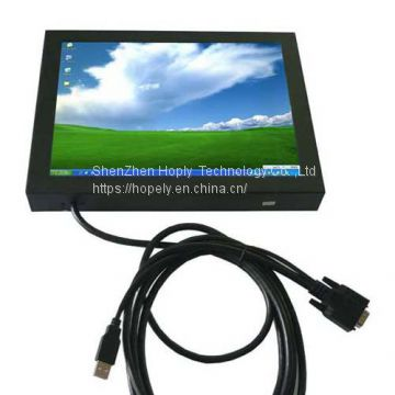 15 Inch HL-1501B Metal Cover VGA Touch Screen Monitor for Industrial PC , POS Display