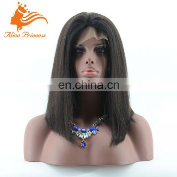 Middle Part Natural Color Bob Style Remi Hair Wig Virgin Indian SIlky Straight Hair Cheap Sort Bob Wigs