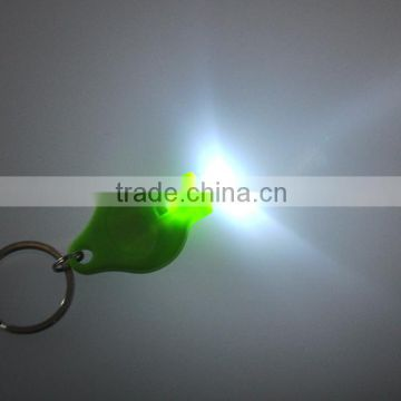 high quality Plastic 40000mcd White light LED flash light keychain factory