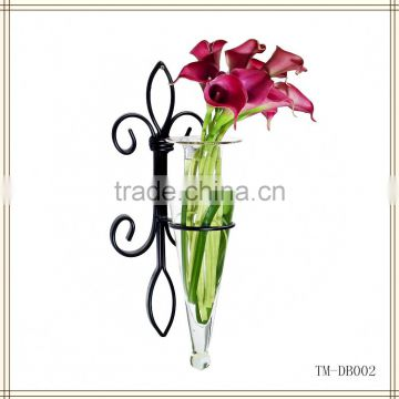 Wrought iron wall flower vase holder