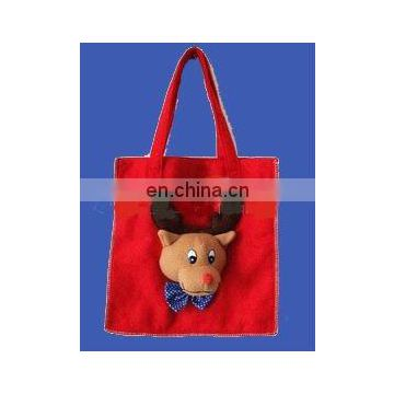 Red felt christmas santa shopping bag with reindeer head