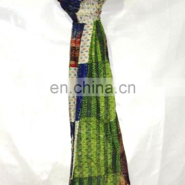 Kantha Shawl Beautiful Embroidery Pure Silk Dupatta Long Stole Indian Scarf Patchwork Women Neck Wrap Reversible