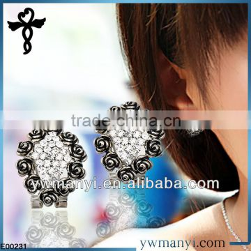 2014 new fashion ladies stud designs k gold enamel little rose stick on earrings for adults in zinc alloy jewelry E00231
