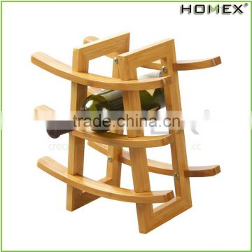 Bamboo countertop wine display holder for 9 bottle Homex-BSCI