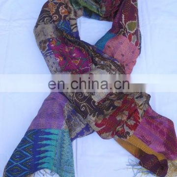 Indian Handmade Stitch Kantha Reversible Vintage Patchwork Silk Stole Women Kantha Silk Sari Scarf Shawl Dupatta Neck Wrap