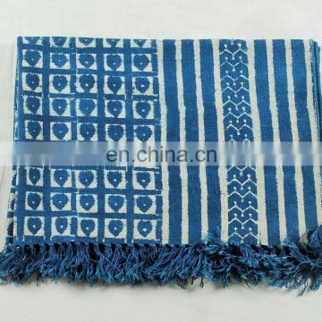 Handwoven Indian Hand Block Printed Cotton made Area Traditional Dhurrie Rag Rug