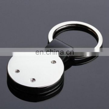 custom round shape black color pvc rubber keychain
