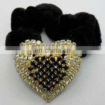 bulk rhinestone crystal heart elastic hair band accessories