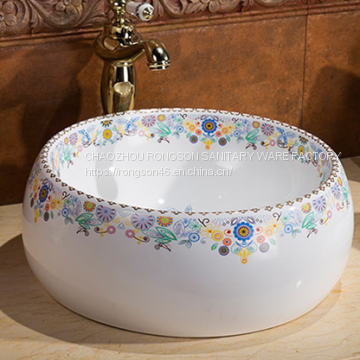 Ceramic good quality square no hole colored hand painted wash hand basin