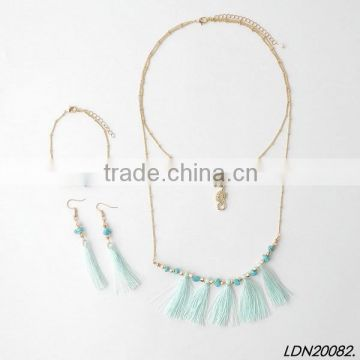 Tassel layering sea horse pendant necklace bracelet earring jewelry set                                                                                                         Supplier's Choice