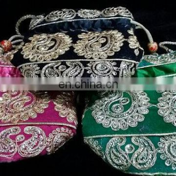ethnic Indian lot of 3 Potli Embroidered Designer Green,Pink,Back Purse Hippie Boho Clutch Sequins Craft pouch Bag Wedding Party