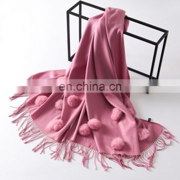 100% Polyester Wool Spinning Winter Cony Rabbit Hair Ball Tassels Loop Pashmina Scarf