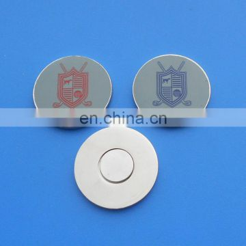 custom round printed magnetic golf ball marker