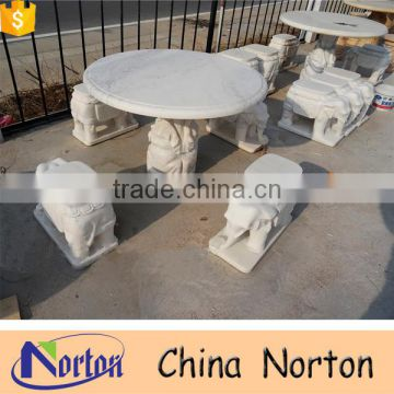 White marble garden stone table and chairs NTS-B276A