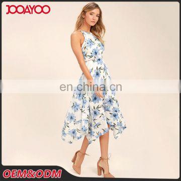 5a2c80c478306 ... New design halter neck off shoulder casual dress floral print one piece woman  dress ...