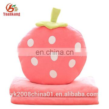Super soft 2 in 1 cartoon watermelon plush fleece fruit pillow blanket for baby