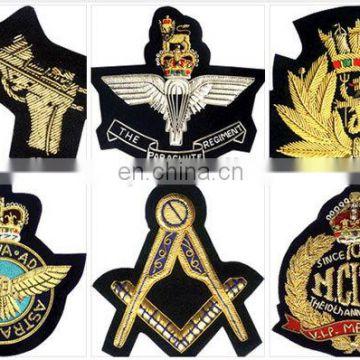 Hand Embroidered Bullion Blazer Cap Badges Embroidered