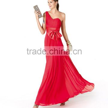 One shoulder free shipping ruched customize floor length cheap red bridesmaid dress CWFab5838