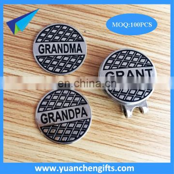 embossed different name ball markers with silver hat clip in bulk sale