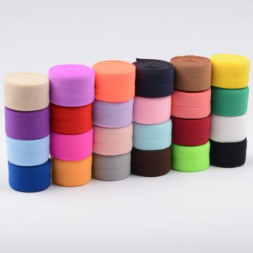 Hot sell colorful 20mm 4/5inch foldover rubber elastic tape bind raw edges of your garments any pantone colo