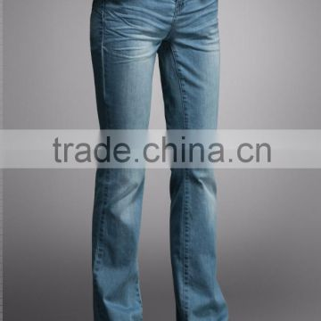 OEM personalized high quality comfort denim casual women flare leg boot out distressed ladies long jeans