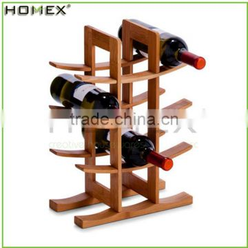 Bamboo funny wine bottle holder/ countertop wine display holder Homex-BSCI