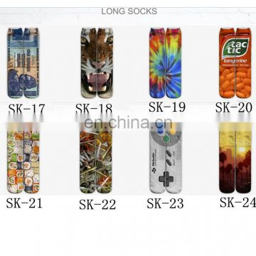 3D men over knee sports socks High Quality Polyester Custom Digital Print Socks Emoji Expression Socks