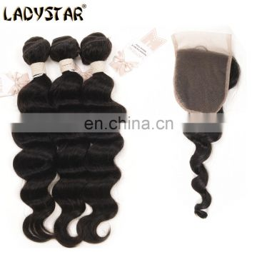 Brazilian Hair Loose Wave Virgin Hair 3pc With Lace Closure Ladystar Brazilian Unprocessed Premium 100% Human Hair