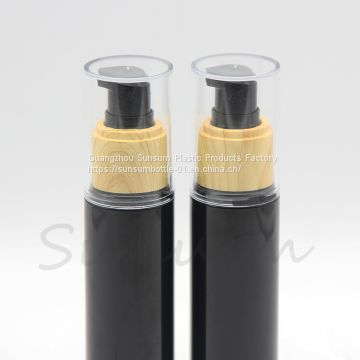 60ml Black Plastic PET Cosmetic Lotion Bottle with Wooden Pump