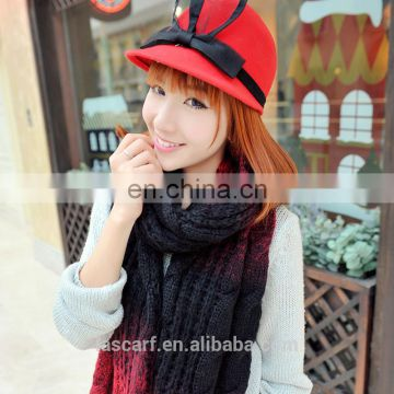 Girl's knitting scarf warm shawl winter gradient scaves red