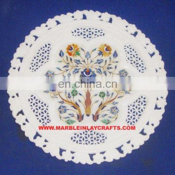 Marble Inlay Plate With Jali