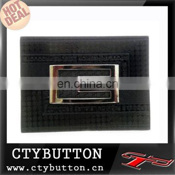 Pu leather with metal logo leather jeans label for garment or shoes