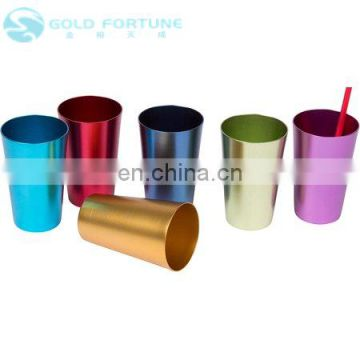 Custom Travel Camping Colorful 16 Oz Anodized Aluminum Cup Mug Tumbler