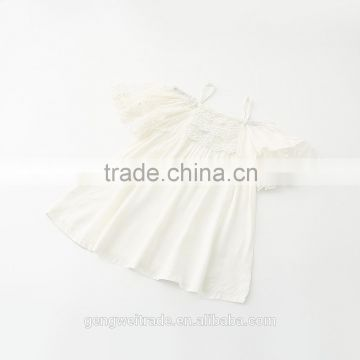 2016 New Item ! children frock dresses cotton and lace off-shouler white flower baby dress party dress