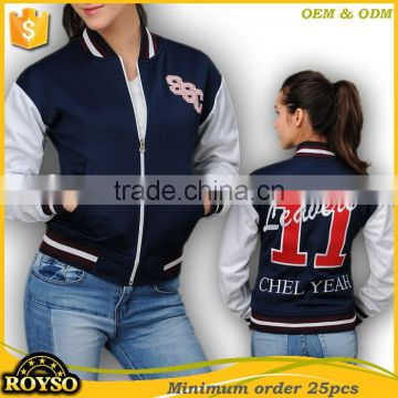 Customize Custom Made Ladies Women American Bomber Latest Girl Baseball School Fashion Uniforms College Letterman Varsity Jacket