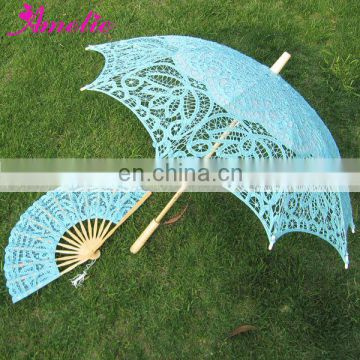 A0104 Debonaire blue battenburg lace umbrella & fan for wedding